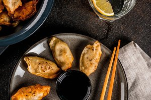 Fried asian dumplings Gyoza