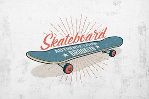Skateboard Retro Print