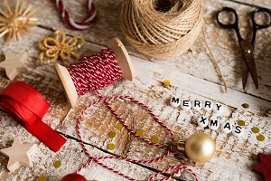 Christmas composition, studio shot, wooden background.