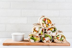 Stack of wrap sandwiches