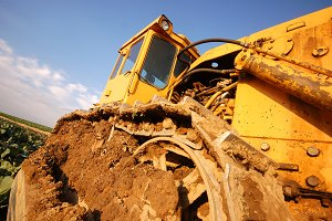 Large excavator working