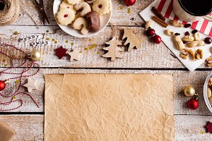Christmas composition, studio shot, wooden background. Copy spac