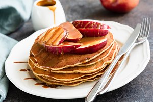 Pancakes with Caramel Apples
