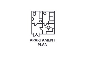 apartment plan vector line icon, sign, illustration on background, editable strokes