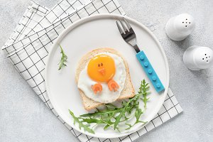 Cute funny breakfast for kids