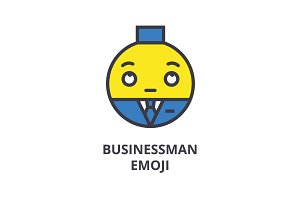 businessman emoji vector line icon, sign, illustration on background, editable strokes
