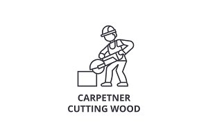 carpetner cutting wood vector line icon, sign, illustration on background, editable strokes