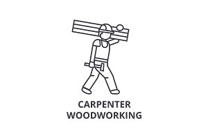 carpetner woodworking vector line icon, sign, illustration on background, editable strokes