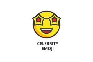 celebrity emoji vector line icon, sign, illustration on background, editable strokes