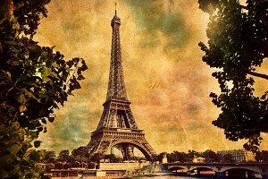 Eiffel Tower in Paris. Retro style