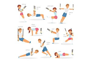 Fitness trx exercises vector sportsman character woman or man exercising in gym for workout or sport training illustration set of sportive people in sportswear with straps isolated on white background