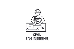 civil engineering vector line icon, sign, illustration on background, editable strokes