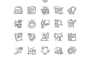 School Subjects Line Icons