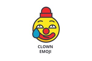 clown emoji vector line icon, sign, illustration on background, editable strokes