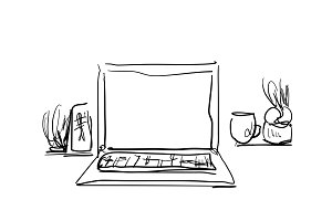 Workplace with laptop, notebook, tablet. Interior sketch
