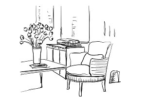 Modern interior room sketch. Table, chair, flowers