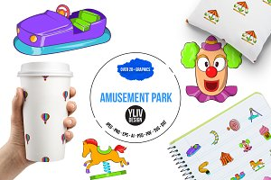 Amusement Park icons set, cartoon