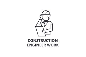 construction engineer talk vector line icon, sign, illustration on background, editable strokes