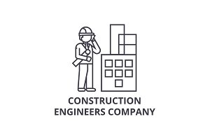 construction engineers company vector line icon, sign, illustration on background, editable strokes