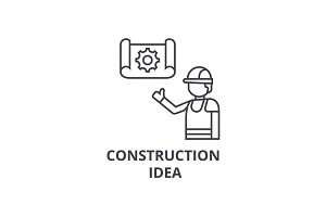 construction idea vector line icon, sign, illustration on background, editable strokes