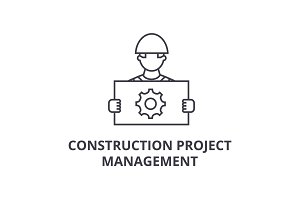 construction project management vector line icon, sign, illustration on background, editable strokes