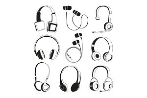 Monochrome illustrations set. Silhouette of headphones