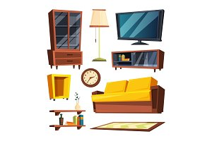 Living room furniture items. Vector illustrations in cartoon style