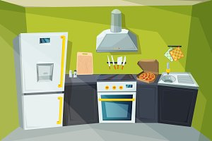 Cartoon illustration of kitchen interior with various modern furniture