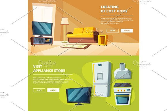 Cartoon banners with illustrations of various furniture for kitchen and living room