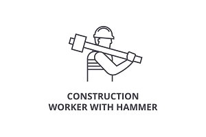construction worker with hammer vector line icon, sign, illustration on background, editable strokes