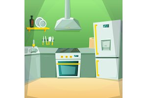 Cartoon pictures of kitchen interior with different furniture items