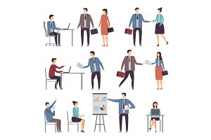 Various scene of active business people in office. Dialogues