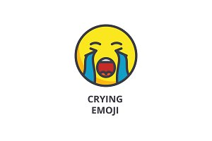 crying emoji vector line icon, sign, illustration on background, editable strokes