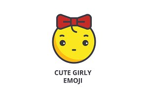 cute girly emoji vector line icon, sign, illustration on background, editable strokes