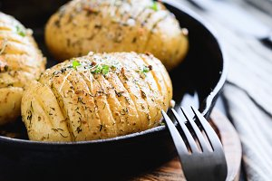 Close-up of homemade baked potato