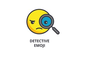 detective emoji vector line icon, sign, illustration on background, editable strokes