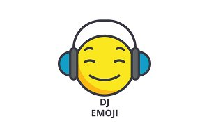 dj emoji vector line icon, sign, illustration on background, editable strokes