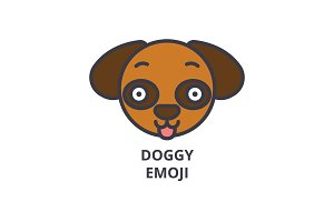 doggy emoji vector line icon, sign, illustration on background, editable strokes
