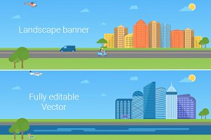 Urban landscape long banner