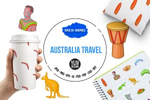 Australia travel icons set, cartoon