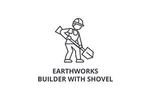 earthworks, builder with showel vector line icon, sign, illustration on background, editable strokes