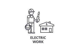 electric work vector line icon, sign, illustration on background, editable strokes