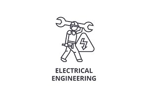 electrical engineering vector line icon, sign, illustration on background, editable strokes