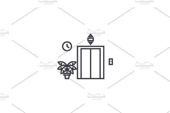 elevator entrance vector line icon, sign, illustration on background, editable strokes