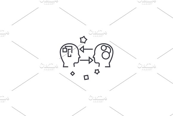 emotional intelligence vector line icon, sign, illustration on background, editable strokes in Illustrations