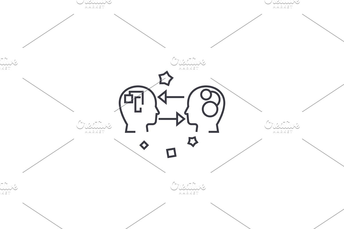 emotional intelligence vector line icon, sign, illustration on background, editable strokes in Illustrations - product preview 8