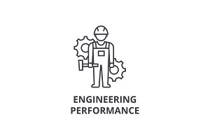engineering performance vector line icon, sign, illustration on background, editable strokes