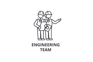 engineering team vector line icon, sign, illustration on background, editable strokes