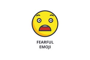 fearful emoji vector line icon, sign, illustration on background, editable strokes