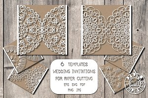 Wedding card for paper cutting.